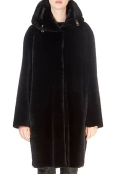 This is the Black Reversible Hooded Sheepskin Coat by our friends at Suprema! Down Puffer Coat, Down Coat, Green Parka, Sheepskin Coat, Black Down, Fur Collars, Eileen Fisher, Hoods, Fur Coat