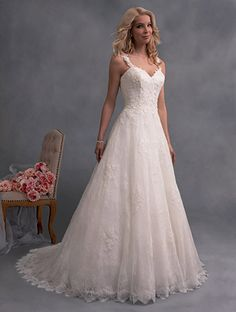 A Traditional A-Line Wedding Dress with All Over Lace, Sheer Straps, Sweetheart…