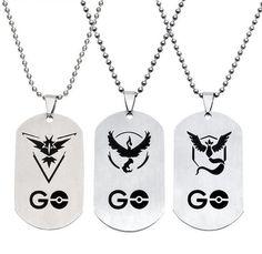 Pokemon Go Silver Dog Tag Necklace Valor Mystic Instinct V2 - OtakuForest.com