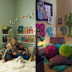 """Смотрите какие уютные уголки для чтения   Моя старшая дочь любит читать лежа в кровати или сидя на ковре, но у нас нет такого уютного уголка... Младший """"читает"""" лежа на ковре,  все книжки у нас в зоне доступа, в стеллаже и низко. Меня только пустите в такой уголок и часа два не трогайте , я буду читать .  А как читают ваши детки, у вас есть удобное место для чтения?"""