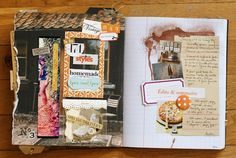 """Beautiful inspiration journal with all sorts of great things """"smashed"""" onto the pages."""