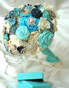Tiffany Blue Bridal Bouquet Bridal Brooch by BoHoBridal on Etsy, $375.00