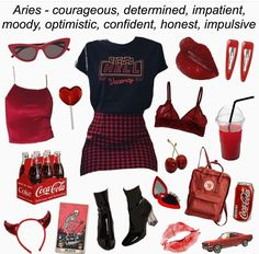 Look at me doing my own zodiac sign ______ Tag Bad Girl Outfits, Edgy Outfits, Cute Summer Outfits, Fashion Outfits, Alternative Outfits, Aesthetic Fashion, Aesthetic Clothes, Aesthetic Style, Aries Outfits