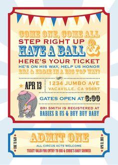 Dumbo Circus Ticket Style Baby Shower Invitations Dumbo