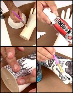 Make funky tattooed plaster hands with rubber gloves and plaster of Paris. Add a twist with clip art and use them as a jewelry display. Watch the video tutorial here: https://www.youtube.com/watch?v=2aX4dYle-qE