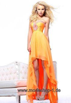 Orangenes Vokuhila Kleid Abendkleid von www.modeshop-1.de