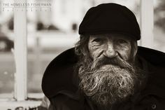 I spotted this guy sitting on Brighton promenade with a couple of fishing rods. I chatted to him for a bit and it turns out that he's homeless and was a. The Homeless Fisherman Old Fisherman, Homeless Man, Portraits, Stunning Eyes, Human Emotions, Beard No Mustache, Beard Styles, Pretty People, Beautiful People