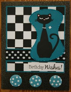 """Retro brithday card made with the """"Nifty Fifties"""" cartridge."""