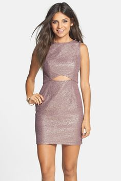 Metallic Cutout Body-Con Dress (Juniors) by Hailey Logan by Adrianna Papell on @nordstrom_rack