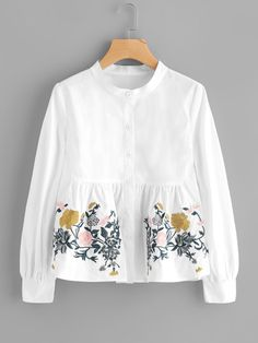 Flower Embroidered Smock Blouse Women Clothes For Cheap, Collections, Styles Perfectly Fit You, Never Miss It! Girls Fashion Clothes, Teen Fashion Outfits, Girl Fashion, Casual Outfits, Fashion Dresses, Clothes For Women, Fashion Blouses, Ootd Fashion, Fashion Hacks