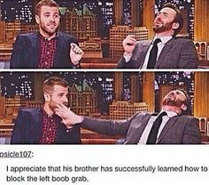 Chris Evans' brother learned how to block the left boob grab. xD