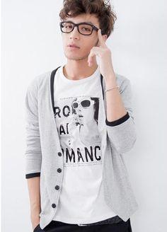 Men's Knitwear Cardigan w/ print tshirt
