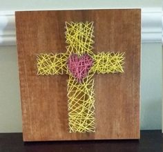 String Art, Cross with Heart, Made to Order, Wall Decor by ElysianCustomCrafts on Etsy