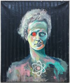 Marie Curie, oil, spray on canvas, by Gunter Pusch Spray Paint Wood, Acrylic Spray Paint, Spray Paint On Canvas, Wood Canvas, Canvas Art, Kahlo Paintings, Original Paintings, Original Art, Science