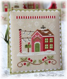 Northpole Post Office (available from Country Cottage Needleworks). Cross Stitch House, Xmas Cross Stitch, Cross Stitch Christmas Ornaments, Christmas Cross, Cross Stitching, Diy Embroidery, Cross Stitch Embroidery, Cross Stitch Designs, Cross Stitch Patterns