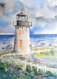"Montara Point Lighthouse Watercolor 22"" x 30"""