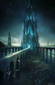 Dark Fantasy Art, Fantasy Artwork, Fantasy Concept Art, Fantasy Art Landscapes, Fantasy City, Fantasy Castle, Fantasy Places, Fantasy Landscape, Fantasy World