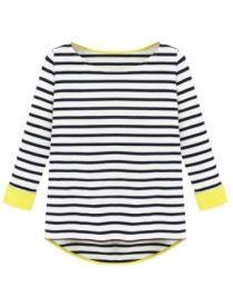 Preto mangá Comprida T-shirt Listrada Hem mergulhado - Sheinside.com