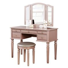 3 pc rose gold finish wood make up bedroom vanity set with curved legs stool and tri fold mirror with multiple drawers. This set comes with the Vanity table with multiple drawers, Tri fold Mirror and the vanity stool. Mirrored Vanity Table, Vanity Set With Mirror, Vanity Stool, Vanity Tables, Vanity Redo, Dresser Vanity, Glass Vanity, Bedroom Vanity Set, Mirrored Bedroom Furniture