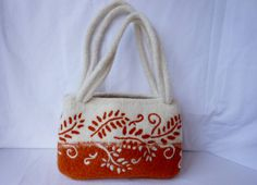 Rust and Cream Fiber Art felted  Wool Bag hand Knit  by LJDBags, $145.00