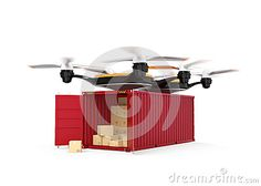 FUTURE: air drone carrying a cargo container lands at the historical museum with restored contents from Document Reprocessors' facility.