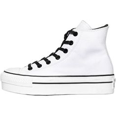 CONVERSE 50mm All Star Leather High Top Sneakers - White (325 RON) ❤ liked on Polyvore featuring shoes, sneakers, converse, white, footwear, white leather sneakers, white leather shoes, white hi top sneakers, leather shoes and white leather high tops