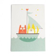 owl, cat and sailship card