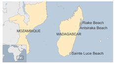 Map of Madagascar with locations of beaches where debris have been found