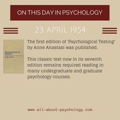 Visit --> http://www.all-about-psychology.com/psychology-tests.html for detailed psychological testing information and resources. #psychology