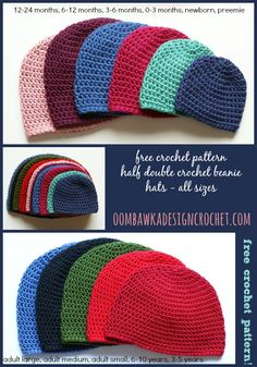 Oombawka Design *Crochet*: Free Crochet Pattern - Half Double Crochet Hat Pattern (All ages with sizes, measurements.)