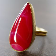 Ruby Red Agate Gold Ring