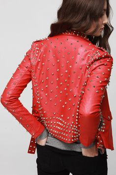 studded rocker chic biker jacket red. Why not?  This would look terrific on a mature woman as well as a biker chic