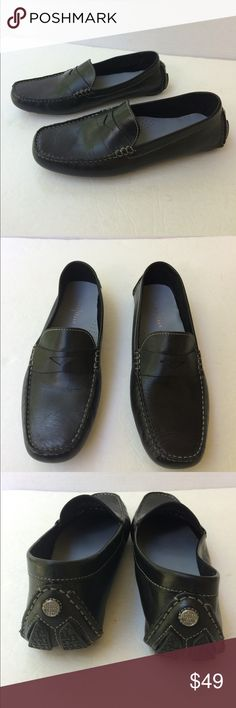 New Cole Haan Women's Black Penny Loafers Very nice and stylish black leather classic looking penny loafers. Perforated arch support. Silver tone signature emblem on the heel. Raised lug rubber soles. New without box. 9B Cole Haan Shoes Flats & Loafers