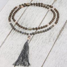 Intuition Mala Elastic Thread, Smokey Quartz, Heart Chakra, Intuition, Rose Quartz, Labradorite, Tassel Necklace, Gemstones, Jewelry