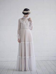 READY TO SHIP retro wedding skirt  country wedding skirt  tiered bridal skirt  rustic bridal skirt  vintage wedding skirt  size 2 skirt