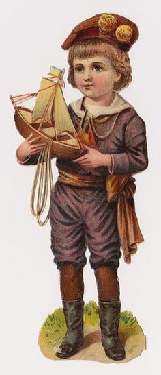 Victorian Die Cut Scrap, Child playing with Toy Boat Vintage Labels, Vintage Ephemera, Vintage Cards, Vintage Postcards, Belle Epoque, Vintage Artwork, Vintage Prints, Vintage Pictures, Vintage Images