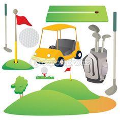 Ilustración de vector de elementos de dibujos animados de Golf aislado en blanco