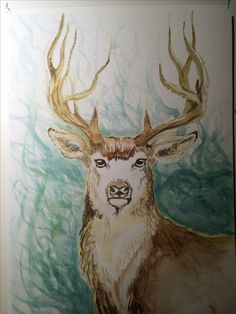 Painted deer with acrylic paint.
