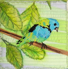 Greenheaded Tanager - Art Quilt by Kit Lang