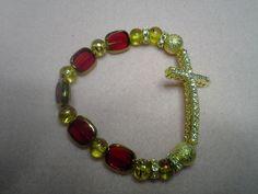Gold and amber horizontal cross bracelet