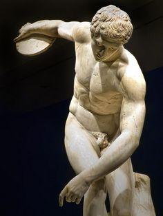 Diskobolos (discus thrower) 2nd century CE Roman copy of 450-440 BCE Greek bronze by Myron recovered from Emperor Hadrian's Villa in Tivoli ...