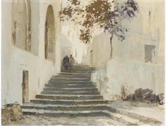Morning Sunlight, Ponza, Italy Edward Brian Seago - Date unknown Source:trulyvincent Klimt, Watercolor Landscape, Watercolor Art, Lawrence Lee, Modern Hepburn, Building Painting, Urban Landscape, Painting & Drawing, Photos