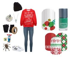 """""""Guess the Christmas Movie - Jamberry Nails"""" by kspantonjamon on Polyvore featuring Frame Denim, Chicnova Fashion, Accessorize, adidas, Bling Jewelry and The Elder Statesman"""