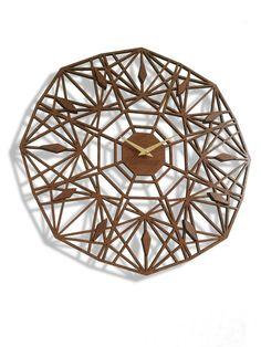 "19"" Sapphire Wall Clock, Large. Laser cut, Mid century, modern, Geometric, Wood…"