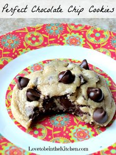 Perfect Chocolate Chip Cookies- These are perfect! Soft, chewy and thick. One bowl recipe. Delish!