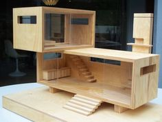Wood Modern dollhouse