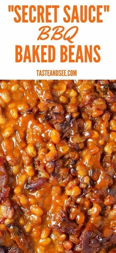 """These """"Secret Sauce"""" BBQ baked beans are a perfect balance of tangy, spicy and sweet. The sauce blends the flavors of mustard from the Carolinas, tomato and ketchup from Kansas, vinegar and molasses from Memphis, and the heat from Texas and Florida! Bbq Baked Beans, Bbq Beans, Texas Baked Beans Recipe, Baked Bean Recipes, Vegetable Recipes, Cooking Recipes, Healthy Recipes, Vegetable Side Dishes, Side Dish Recipes"""