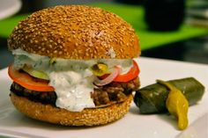 Themed burgers can be dangerous. Use too many gimmicks, make things too complicated, and you run the risk of being all concept. Lamb Burgers, Salmon Burgers, All American Food, Tzatziki Recipes, Burger Places, Burger Recipes, Allrecipes, Hamburger, Sandwiches
