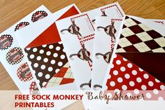 FREE Sock Monkey Baby Shower printables