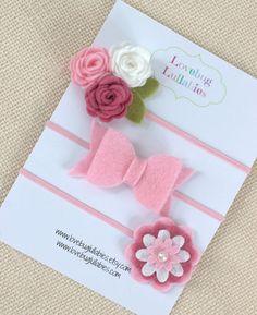 Felt Flower Bow Headband or Hair Clips Set of 3 by LovebugLullabies  www.lovebuglullabies.etsy.com